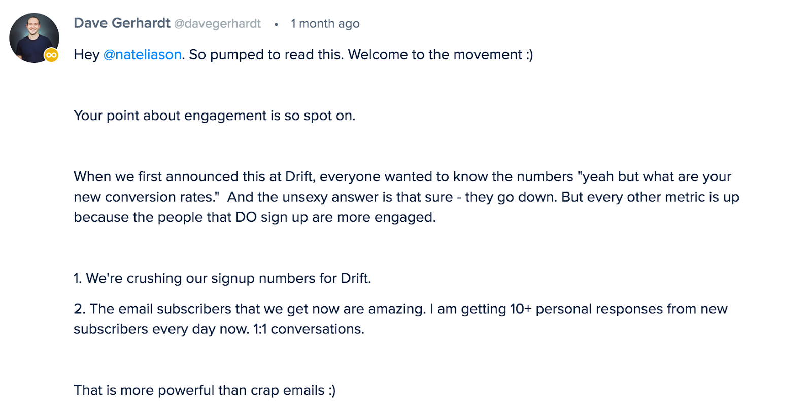 Drift commenting the benefits of removing email capture