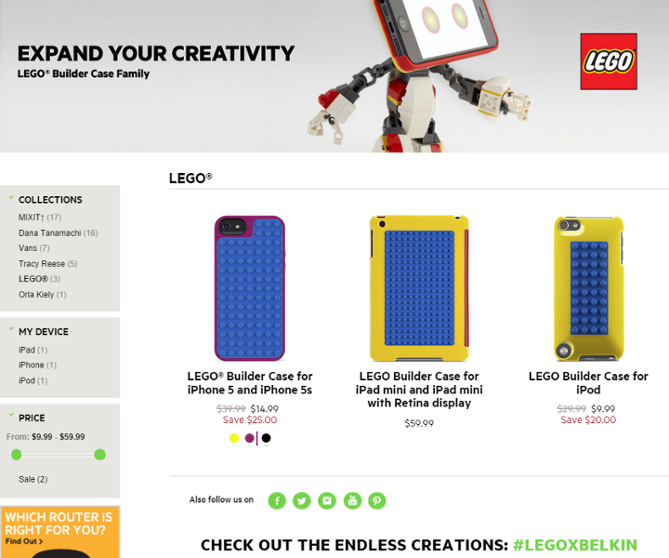 Belkin store - showing iPhone Lego Builder Case
