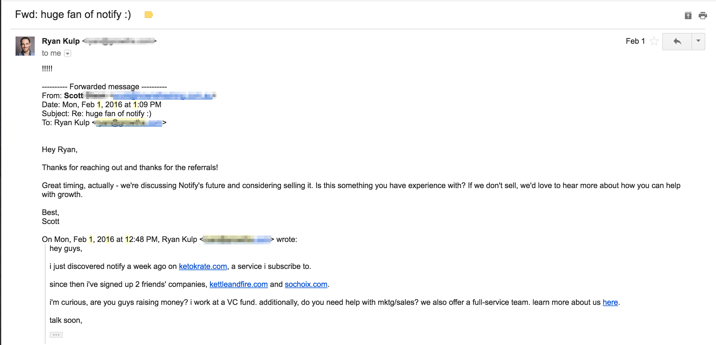 Email screenshot reaching out notify founders