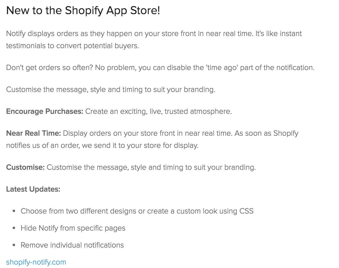 Notify old store listing at Shopify