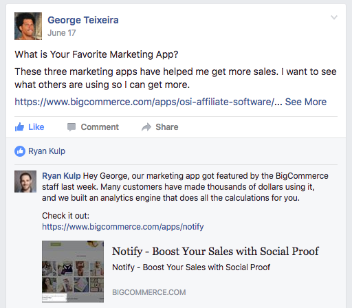Screenshot of facebook groups discussion about Marketing App