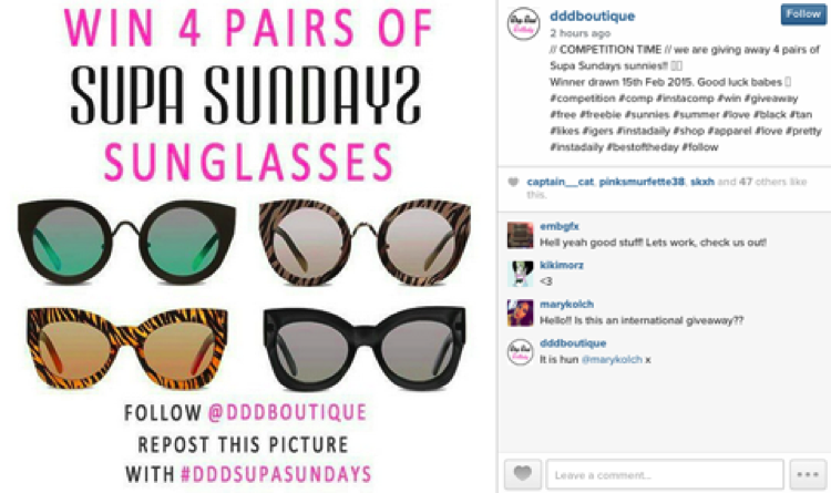 Competition on Instagram of DDD Boutique to win pairs of sunglasses