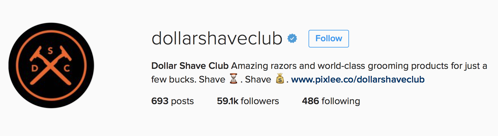 dollar shave club logo in Instagram profile