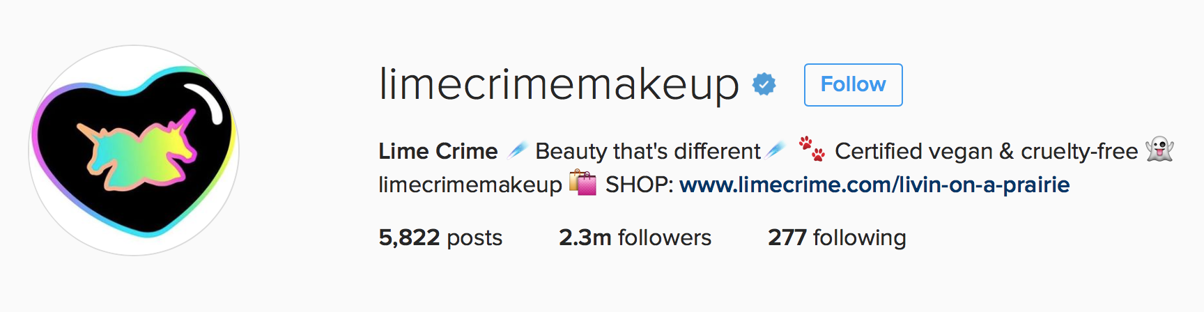 Use of emojis in Lime Crime Makeup's Instagram bio