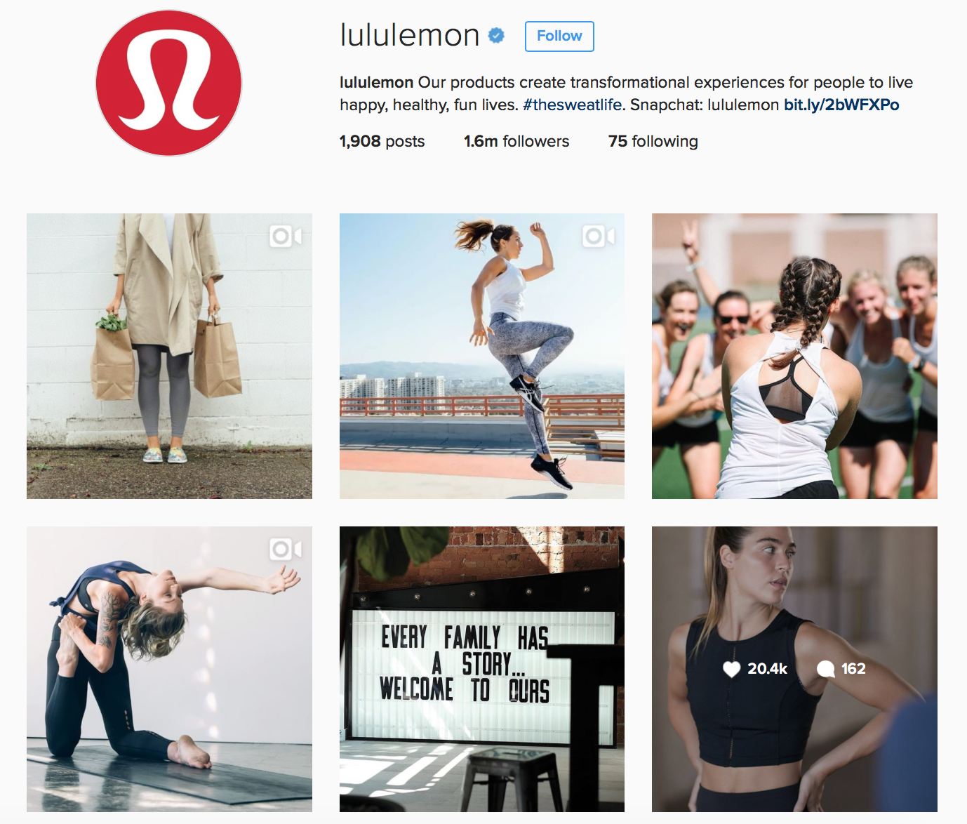 Lululemon Instagram Profile
