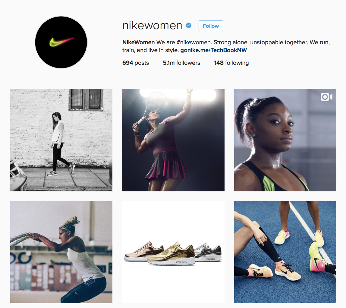 NikeWomen Instagram profile