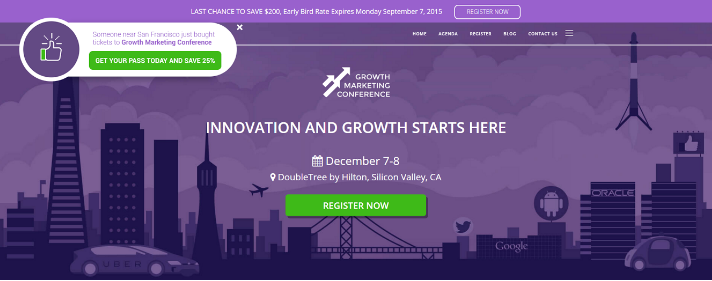 Growth Marketing Conference using Fomo