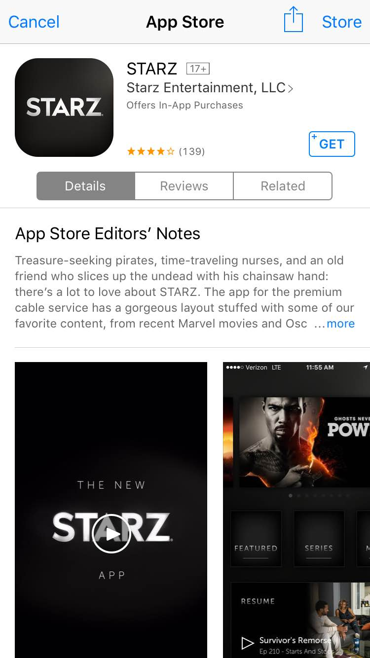 Screenshot app store - download app Starz