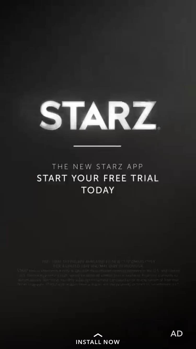 Screenshot Starz snapchat leading to install the app