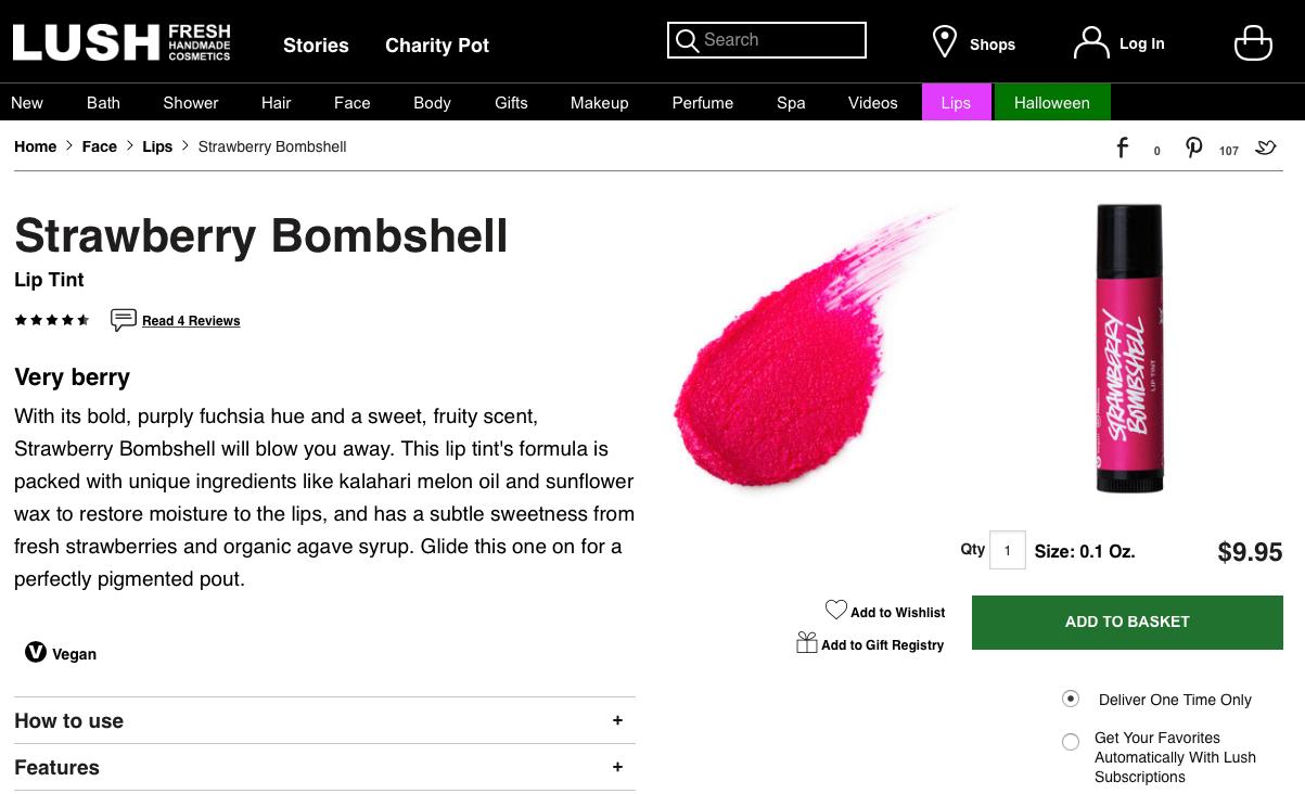 Lush cosmetics benefits description