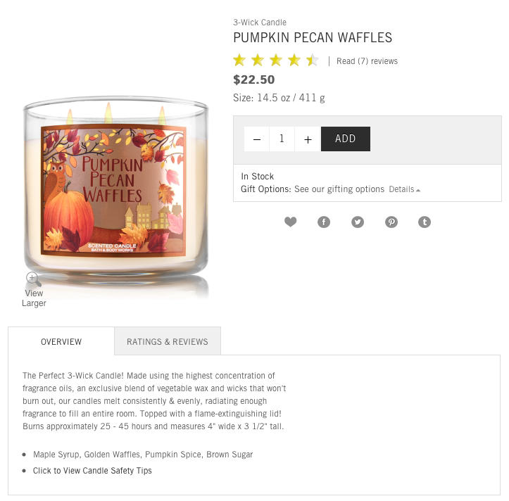 Bath and Body Works Candle description