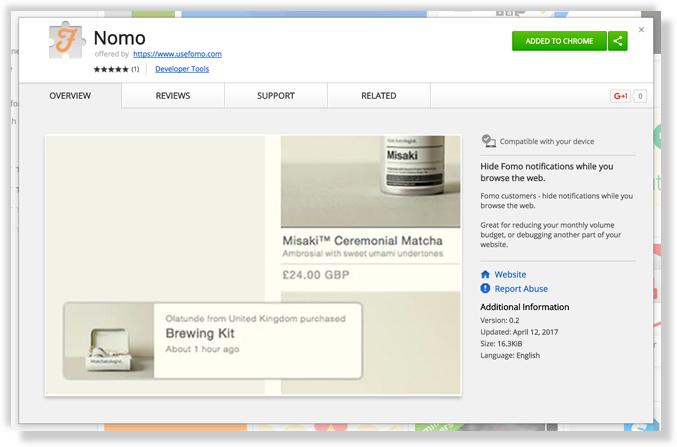 nomo on chrome store