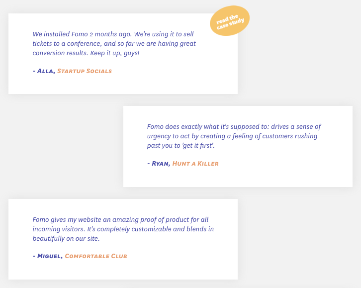 Fomo customer testimonials
