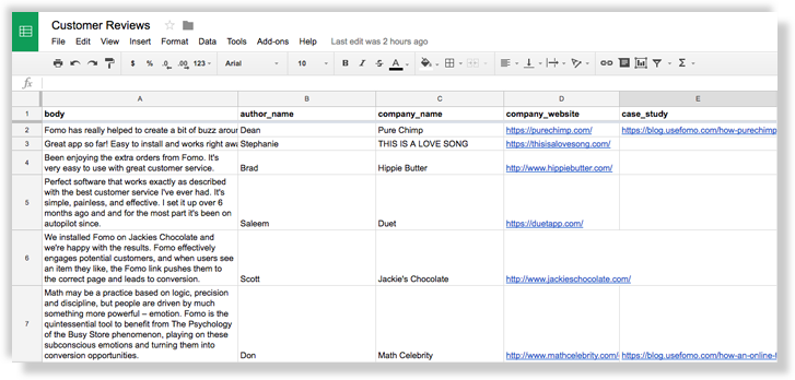 fomo reviews google sheet