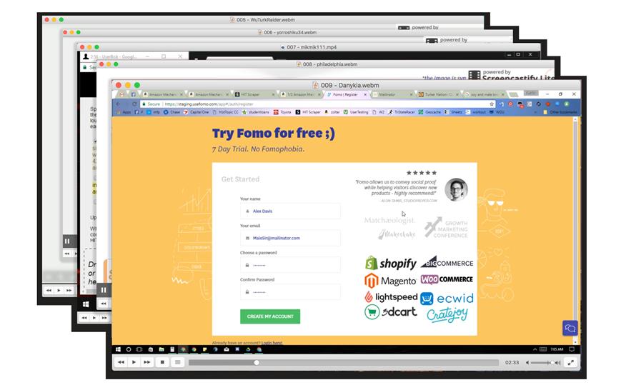 fomo user test videos