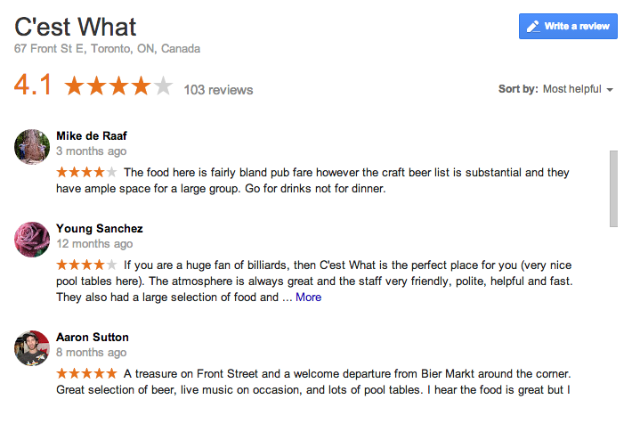 professional restaurant reviews examples