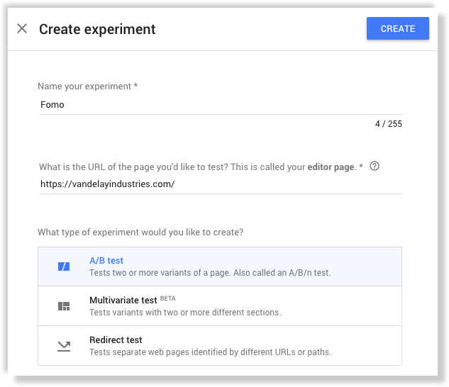 Fomo experiment in Google Optimize