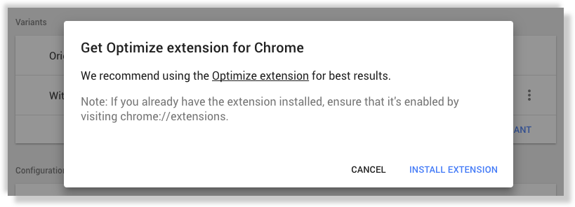 Google Optimize extension