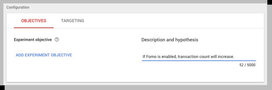 Google Optimize hypothesis