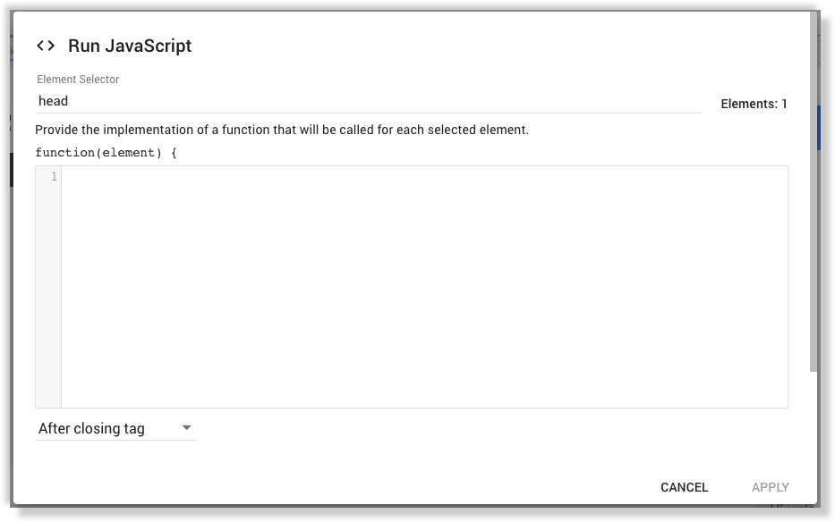 Google Optimize javascript editor