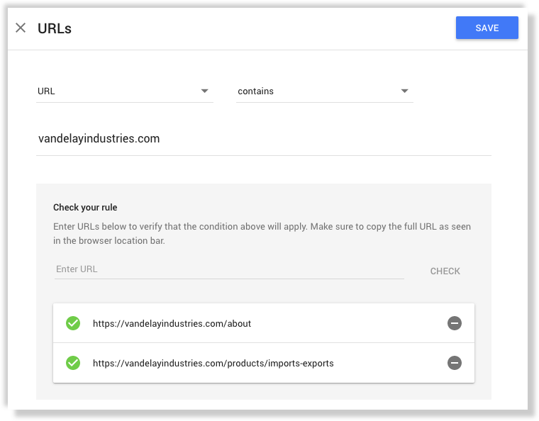 Google Optimize url targeting rule example