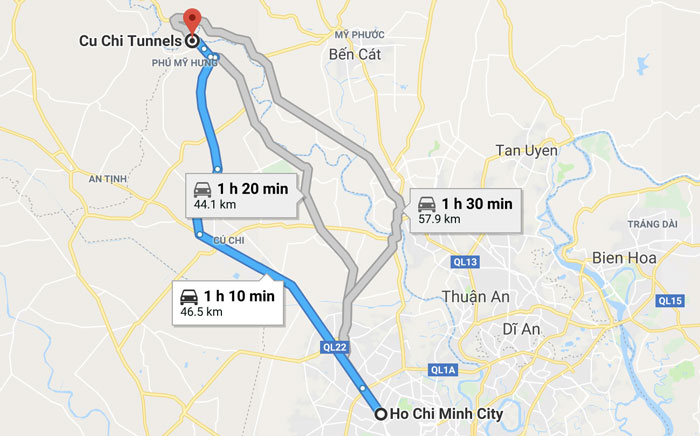 Cu Chi Tunnels Route