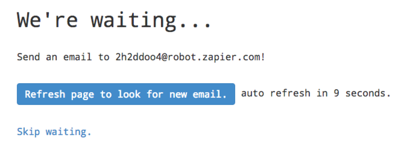 Zapier Email Parser with Fomo, setting up a Zapier email address