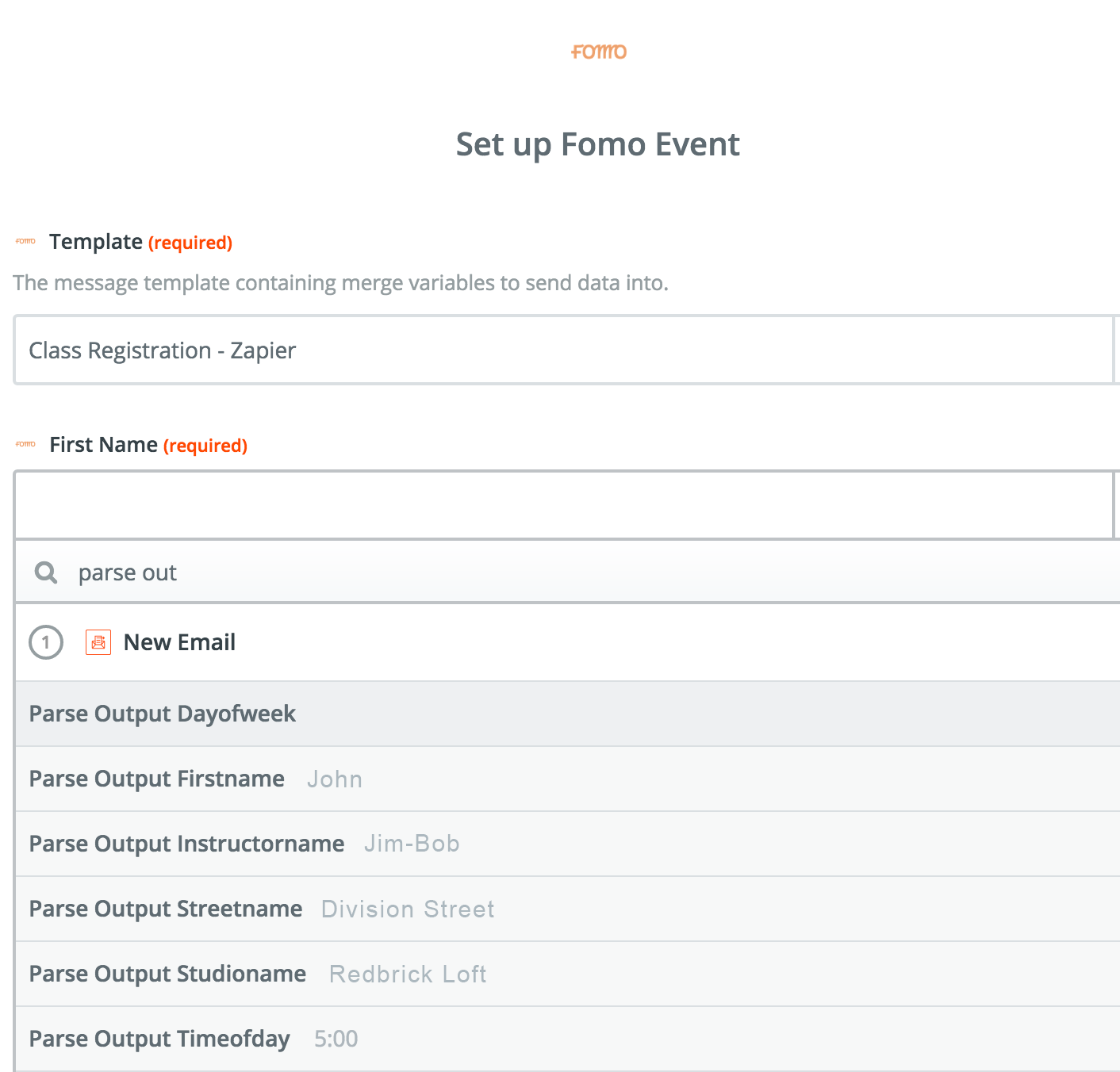 Zapier Email Parser and Fomo integration, setting up the Zapier action